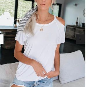 Vici Tops - VICI cut out shoulder white tee